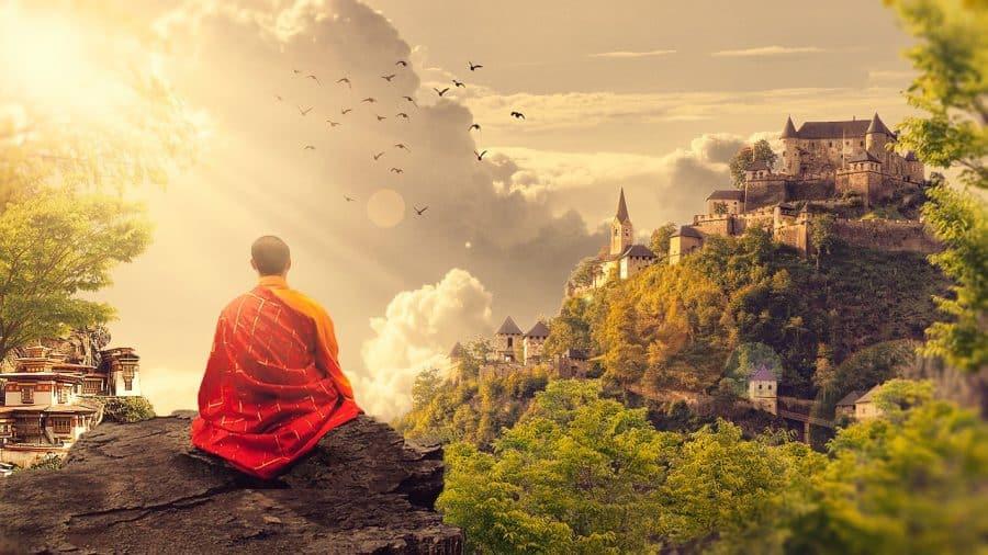 budista haciendo yoga