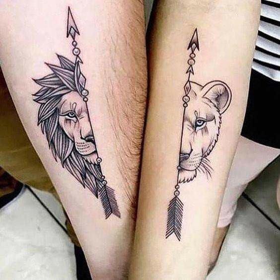 tatuajes en pareja de leones